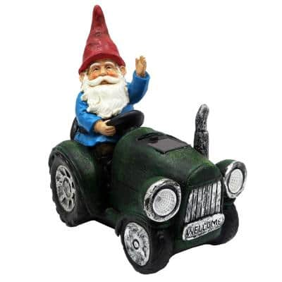10 in. Tall Outdoor Garden Gnome Riding Green Tractor Garden Statue Decoration with LED Lights, Multi-Color