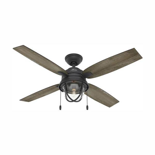 Hunter Barnes Bay 52 In Led Indoor Outdoor Natural Iron Ceiling Fan With Light Kit 59560 The Home Depot