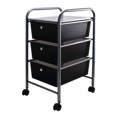 3-Drawer Metal File Organizer Cart in Black