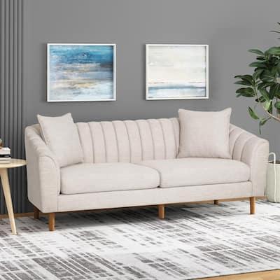 Ansonia 84.5 in. Beige Solid Fabric 3 Seat Tuxedo Sofa