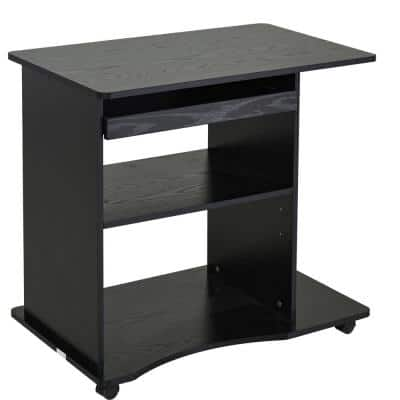 31.5 in. Black Mobile Laptop Computer Desk with Keyboard Tray and Adjustable Shelf
