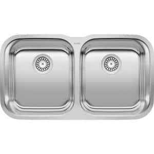 STELLAR Undermount Stainless Steel 33 in. 50/50 Double Bowl Kitchen Sink