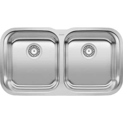 STELLAR Undermount Stainless Steel 33 in. 50/50 Double Bowl Kitchen Sink