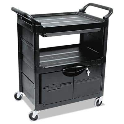 Utility Cart with Lockable Doors, Sliding Drawer 4 in. Swivel Caster in Black