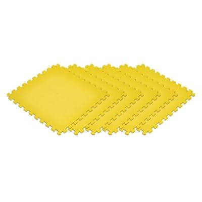 Yellow 24 in. x 24 in. EVA Foam Non-Toxic Solid Color Interlocking Tiles (96 sq. ft. - 24 tiles)