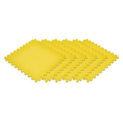 Yellow 24 in. x 24 in. x 0.47 in. Foam Interlocking Floor Mat (6-Pack)