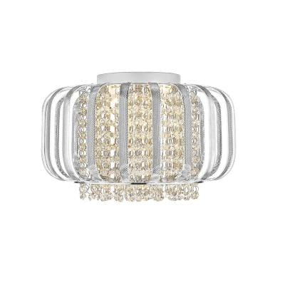 Adelizza III 13.8 in. 4-Light Silver Integrated LED Flush Mount