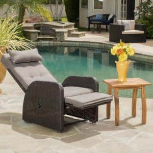 Ostia Brown Wicker Outdoor Recliner with Gray Cushion