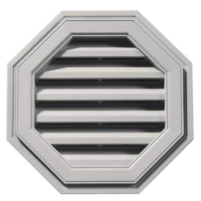18 in. x 18 in. Octagon Gray Plastic Built-in Screen Gable Louver Vent