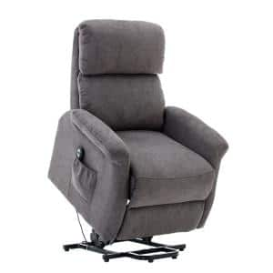 37 in. Width Big and Tall Gray Microfiber Lift Recliner