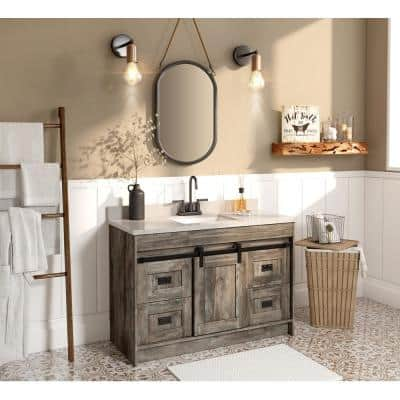 Barnstable 48 in. W x 22 in. D Vanity in Driftwood Gray with Cultured Marble Vanity Top in Pewter with White Basin