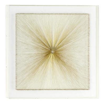 Large White and Gold Thread Square Shadow Box Wall Decor, 23.6 in. x 23.6 in.