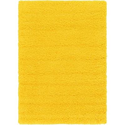 Solid Shag Tuscan Sun Yellow 4 ft. x 6 ft. Area Rug