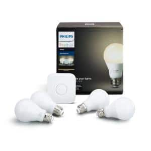 White A19 LED 60W Equivalent Dimmable Smart Wireless Lighting Starter Kit (4 Bulbs and Bridge)