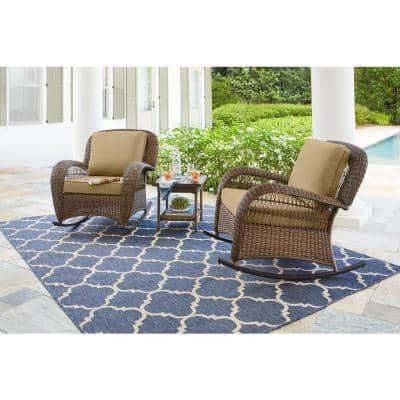 Beacon Park Brown Wicker Outdoor Patio Rocking Chair with CushionGuard Toffee Tan Cushions