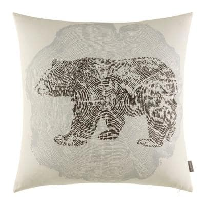 Crosscut Bear Gray Cotton 20 in. x 20 in. Throw Pillow