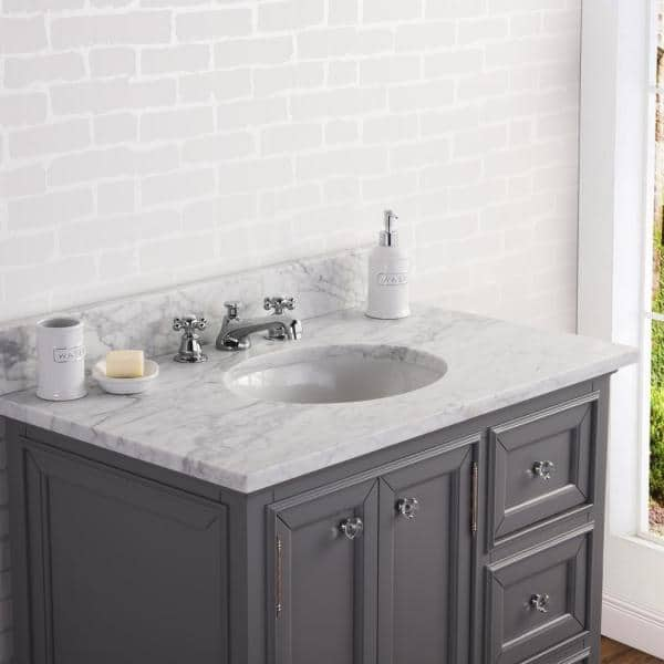 Water Creation Derby 36 In W X 34 In H Vanity In Gray With Marble Vanity Top In Carrara White With White Basin Derby36g The Home Depot