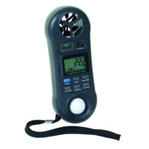 4-in-1 Environmental Meter for measuring wind airflow, moisture, humidity, temperature and light level
