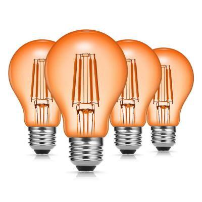 40-Watt Equivalent A19 Edison Orange LED Filament Light Bulb (4-Pack)