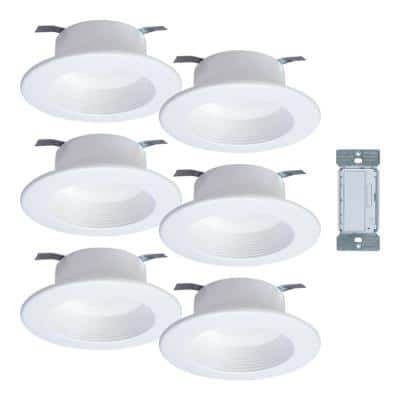 4 in. Tunable CCT Bluetooth Smart Integrated LED White Recessed Light Trim, and In-Wall Accessory Dimmer (6-Pack)