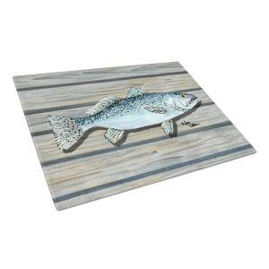 Caroline S Treasures Red Fish Tempered Glass Large Cutting Board 8807lcb The Home Depot