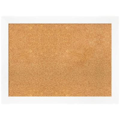 Cabinet White 31.25 in. x 23.25 in. Narrow Framed Corkboard Memo Board