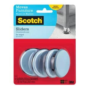 Scotch 2-3/8 in. Gray/Black Round Reusable Furniture Sliders (4-Pack)