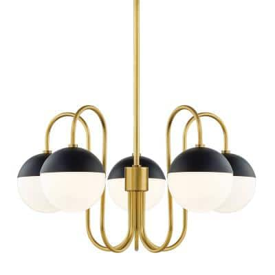 Renee 5-Light Aged Brass/Black Chandelier with Opal Glossy Shade