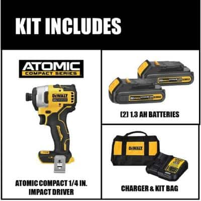 ATOMIC 20-Volt MAX Cordless Brushless Compact 1/4 in. Impact Driver, (2) 20-Volt 1.3Ah Batteries, Charger & Bag