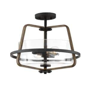 Ryder 16.5 in. 2-Light Forged Black Interior Semi Flush Mount with Clear Glass Shade