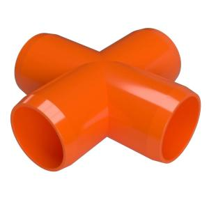 1 in. Furniture Grade PVC Cross in Orange (4-Pack)