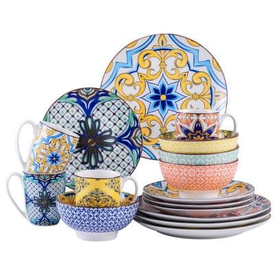 Jasmin 16-Piece Porcelain Multi-Colors Dinnerware Sets (Service for 4)