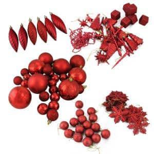 Club Pack of Shatterproof Candy Apple Red Christmas Ornaments (125-Piece)