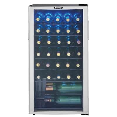 35-Bottle Wine Cooler Freestanding in Platinum/Black