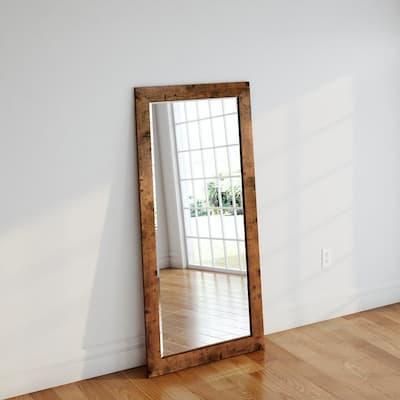 Oversized Light Walnut Wood Cottage Farmhouse Rustic Mirror (65.5 in. H X 32 in. W)