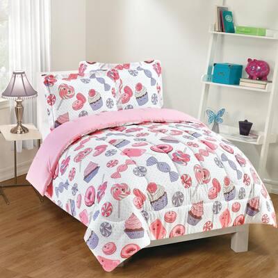 Sweet Treats 2-Piece Pink Twin Comforter Set