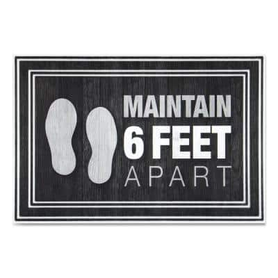 """Message Charcoal 24 in. x 36 in. """"Maintain 6 Feet Apart"""" Commercial Floor Mat"""