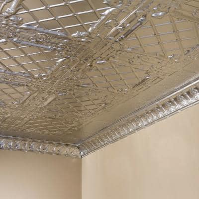 Toledo 2 ft. x 2 ft. Nail Up Metal Ceiling Tile in Clear (Case of 5)