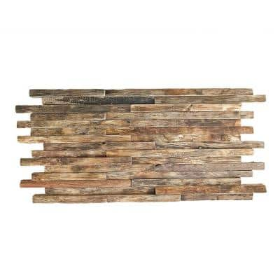 23-3/4 in. x 11-7/8 in. x 3/4 in. Stacked Boat Wood Mosaic Wall Tile, Natural Finish