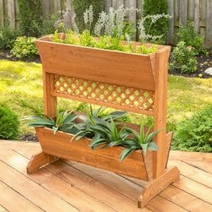 32 in. W x 18 in. D x 32 in. H Wooden Brown Space Divider Planter, 2-Tier