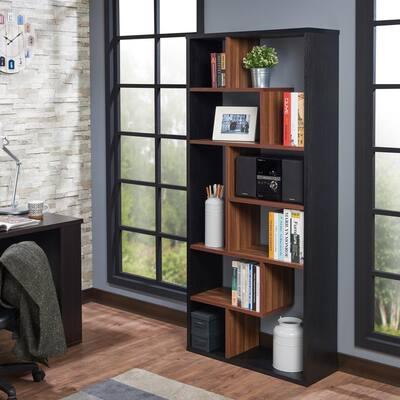 71 in. Black/Walnut Faux Wood 10-shelf Etagere Bookcase with Open Back