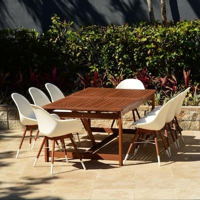 Carilo 9-Piece Eucalyptus Rectangular Patio Dining Set