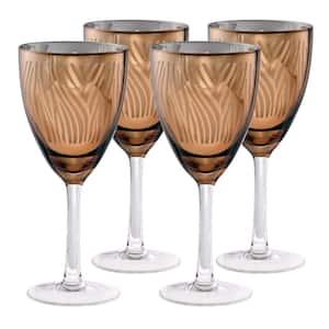 14 oz. Zebra Design Gold Wine Glass (Set of 4)