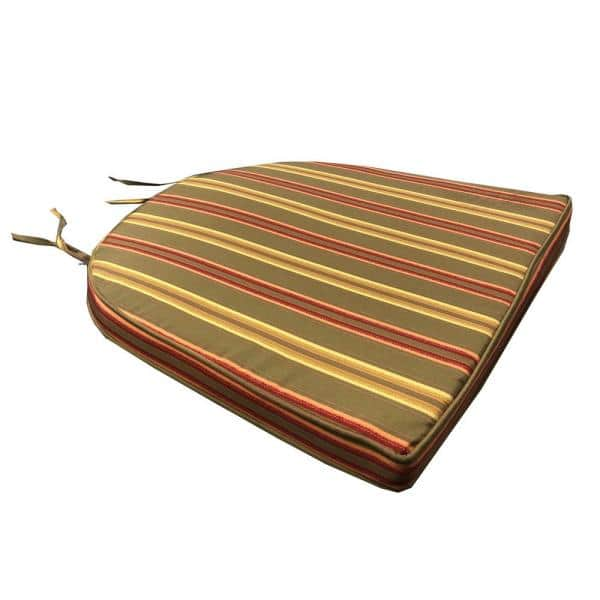 Oakland Living 20 In X 19 In Green Trapezoid Outdoor Patio Dining Chair Cushion Stripes With Ties Cushion 90048 19in Gnsp The Home Depot