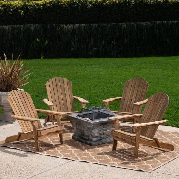 Noble House Marrion Natural 5 Piece Wood And Concrete Patio Fire Pit Seating Set 41768 The Home Depot
