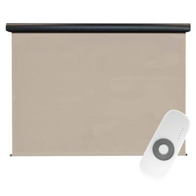Coronado Cordless UV Blocking Motorized PVC Outdoor Roller Shade Rechargeable DC Motor 120 in. W x 96 in. L