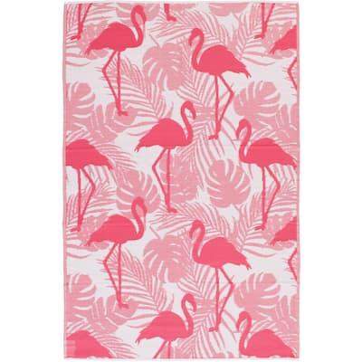 White/Pink 6 ft. x 9 ft. Flamingo Polypropylene Indoor/Outdoor Area Rug