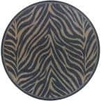 Recife Zebra Black-Cocoa 8 ft. x 8 ft. Indoor/Outdoor Round Area Rug