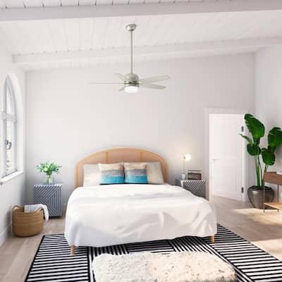 Aker 52 in. LED Indoor Fresh White Ceiling Fan with Light Kit