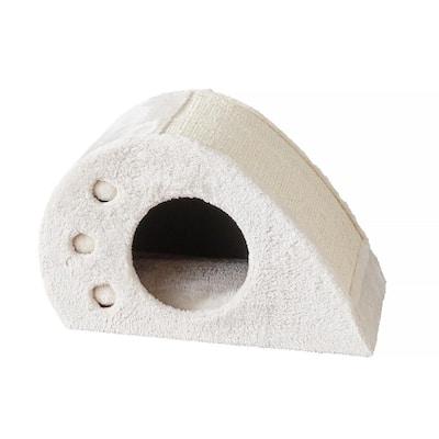 Magnolia Cat Toy Condo with  scratching Board Cream